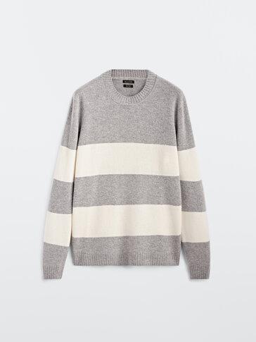 Crew neck striped wool sweater