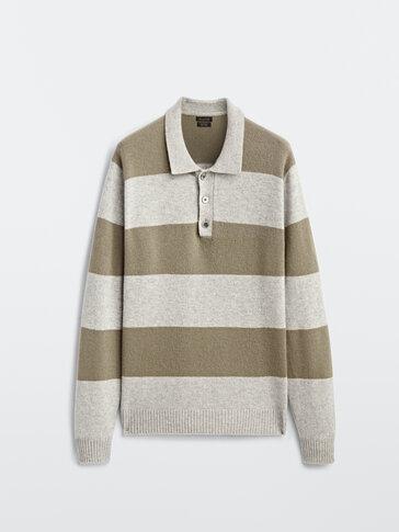 Jersey polo rayas lana cashmere