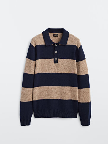 Wool and cashmere striped polo sweater