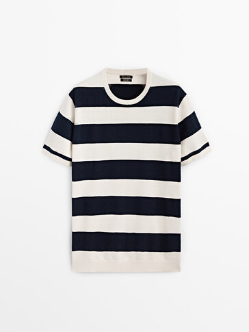 Knit cotton t-shirt with stripes