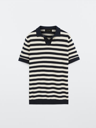 Short sleeve striped cotton polo sweater