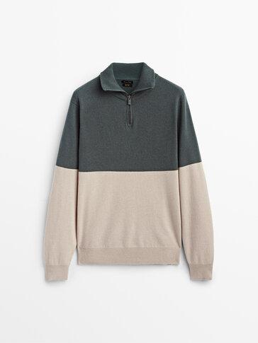 Pull color block zippé laine et cachemire