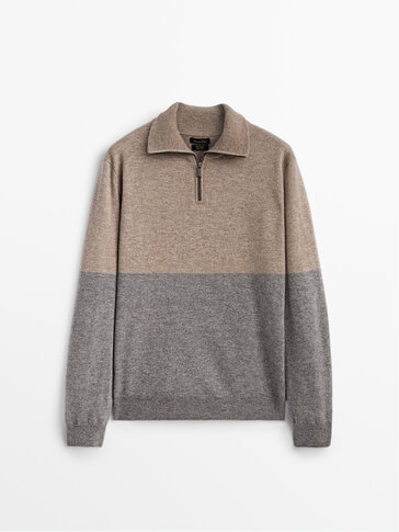 Colour block cashmere wool sweater with zip