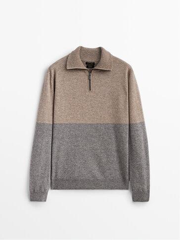 Пуловер от кашмир и вълна в изчистени контрастни цветове с цип