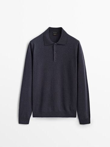 Cashmere wool polo sweater