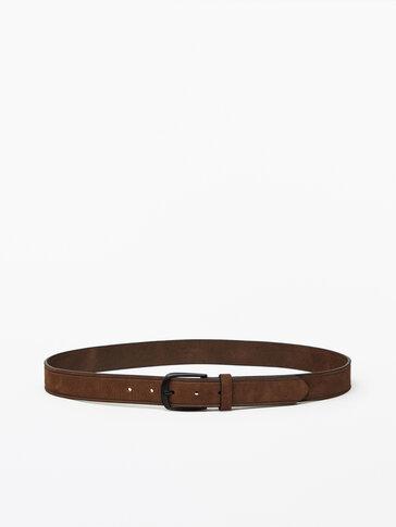 Striped nubuck leather belt