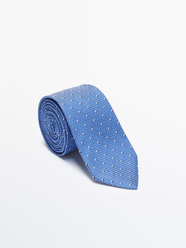 Double polka dot 100% silk tie
