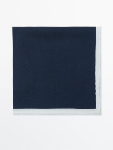 Contrast 100% silk pocket square