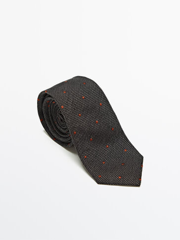 Silk cotton polka dot print tie
