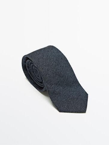 Textured silk cotton melange tie