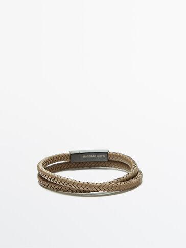 Double plait leather bracelet