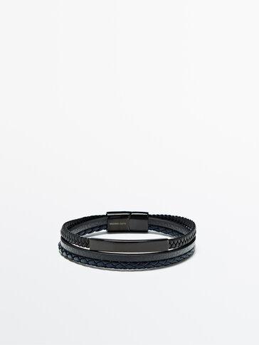 Doppeltes Flechtarmband aus Leder