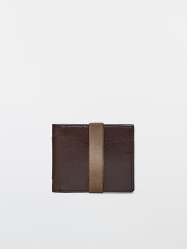 Leather wallet with elastic trim