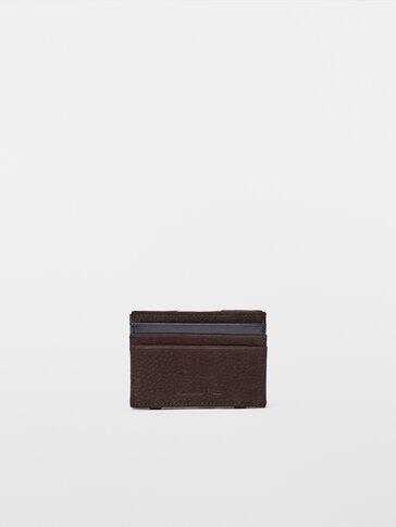 Contrast nubuck leather card holder