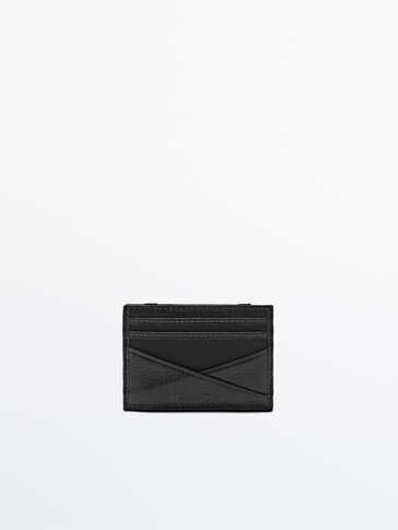 Nylon card holder with leather details