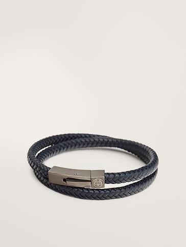 Double-layer tubular braided leather bracelet
