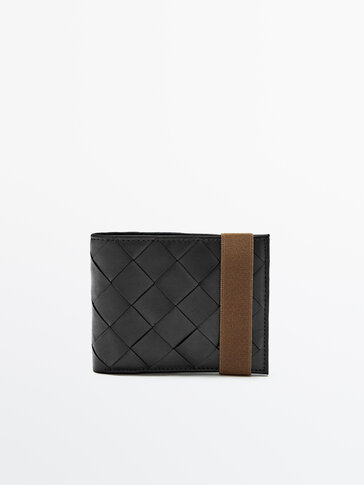 Black leather wallet with contrast stretch plaited detail