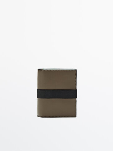 Leather clutch with contrast rubber detail