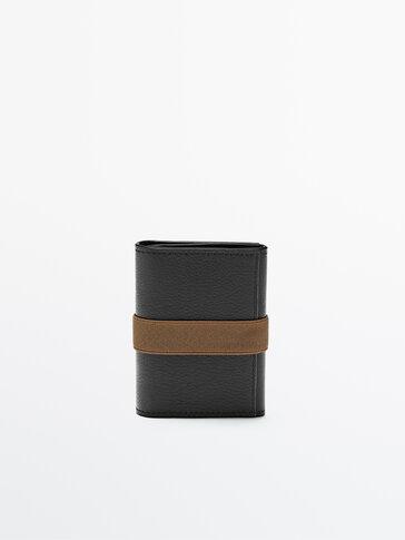 Plain black leather wallet with contrast elastic trim
