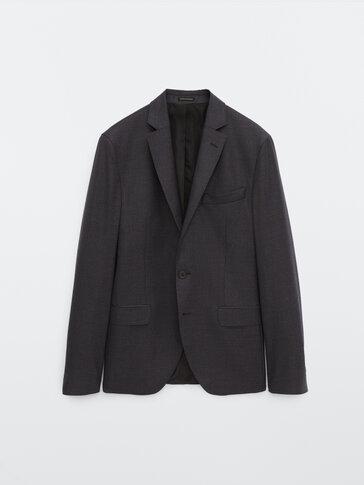 Slim fit houndstooth wool blazer