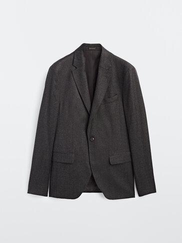 Slim fit-jakke i ull og flanell