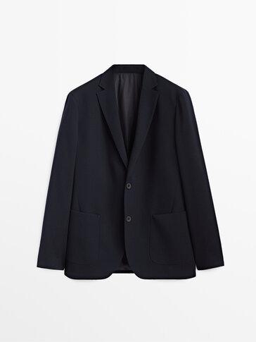 Navy blue wool flannel blazer