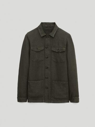 Hemdjacke aus reinem Leinen mit Taschen