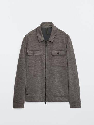 Navy 100% merino wool jacket with pockets