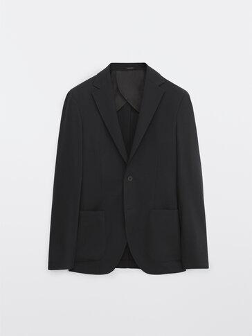 Marineblauer Slim-Fit-Blazer aus Wolle