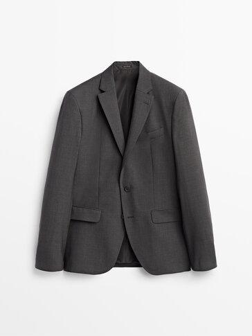 Slim fit 100% wool blazer