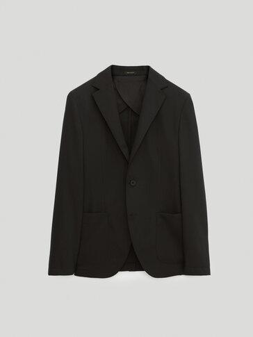 Black slim-fit wool blazer