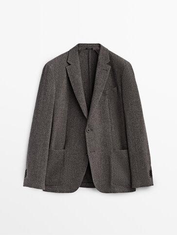 100% wool herringbone blazer
