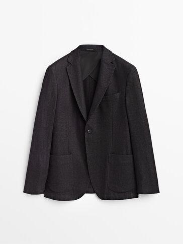 Μάλλινο σακάκι slim fit με σχέδιο ύφανσης