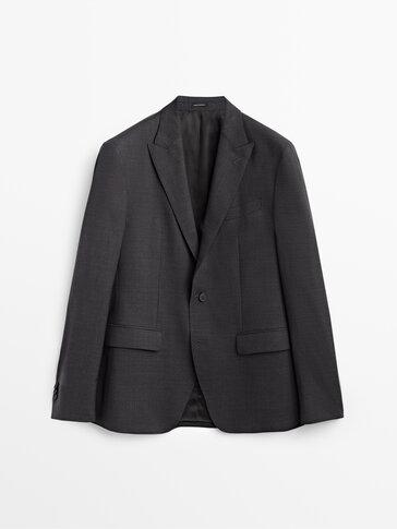 Серый костюмный пиджак из 100% шерсти