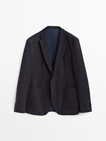 False plain cotton and wool blazer