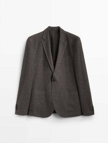 Slim-Fit-Blazer Pikee aus Baumwolle