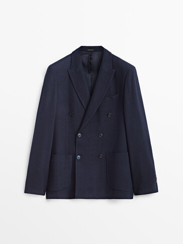 Wool double-breasted blazer with pockets