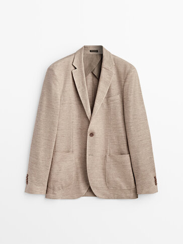 Cotton and linen blazer with pockets