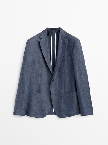 Check wool and linen blazer