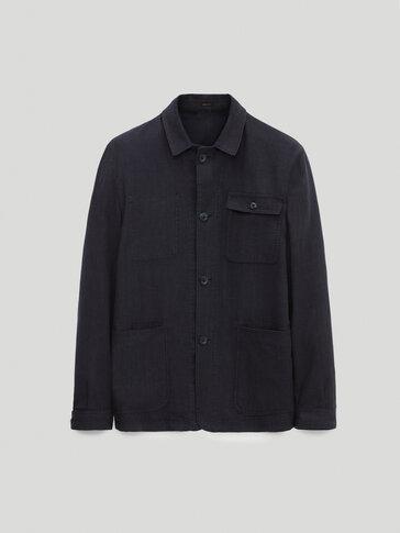 Куртка-рубашка из шерсти и льна с узором «гусиная лапка»