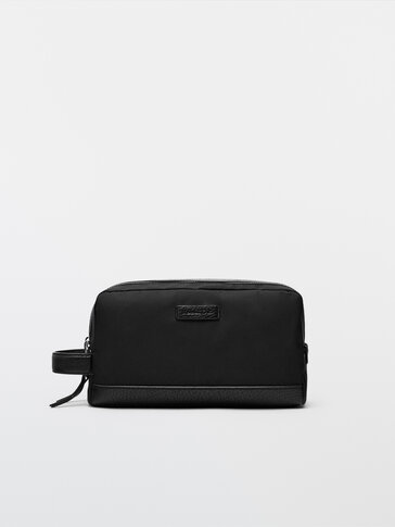 Nylon toiletry bag with leather details