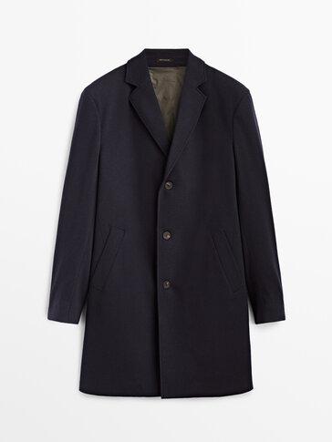 Manteau bleu en laine cachemire