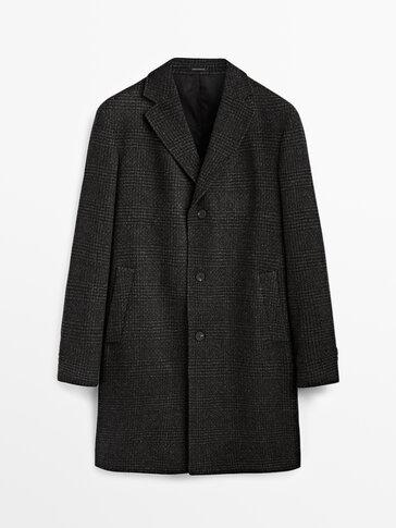 Kockovaný vlnený kabát Limited Edition