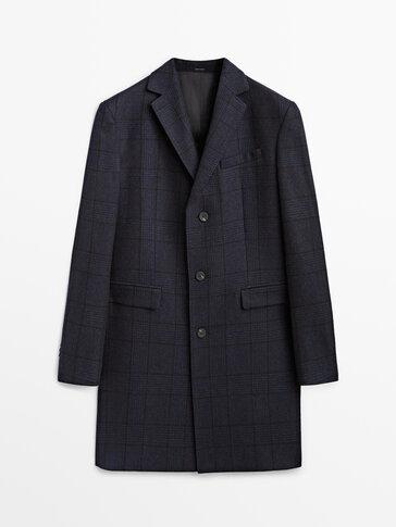 Blue check wool coat