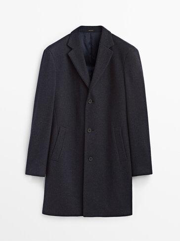 False plain smart wool coat