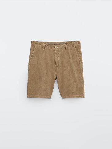 Faded-effect cotton linen Bermuda shorts
