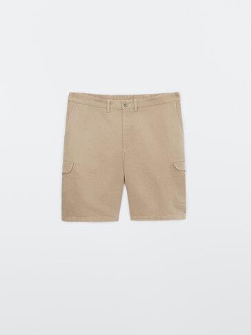Cotton and linen cargo Bermuda shorts