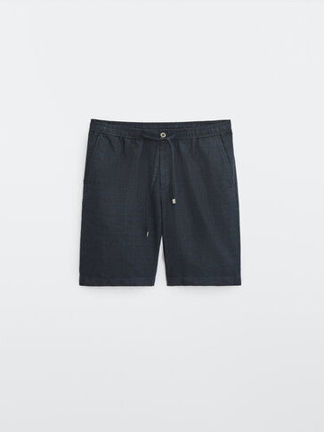 Check linen and cotton Bermuda shorts