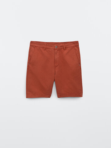 Cotton and linen Bermuda shorts