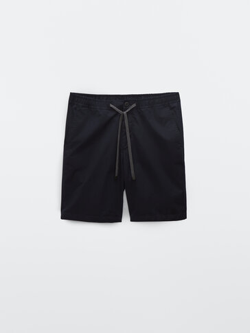 Technical cotton poplin Bermuda shorts